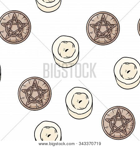 Candles And Magic Pentacles Comic Style Doodles Top View Seamless Pattern. Cozy Wiccan Altar With Wo