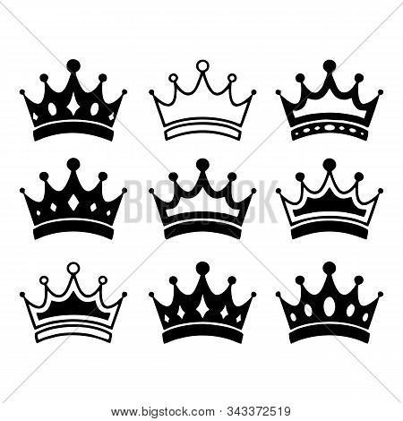 Set Of Black Crown, Crown Icon Vector In Modern Flat Style For Web, Graphic And Mobile Design. Crown