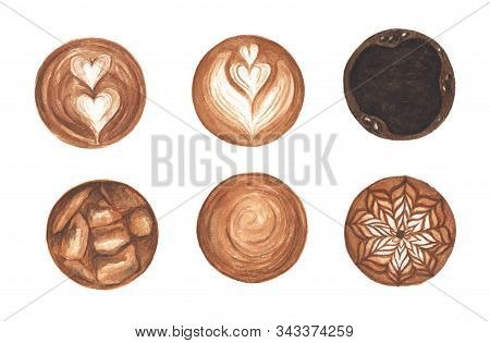 Set Latte Art , Heart Shape, Ice Coffee, Latte Art Coffee Isolated On White Background. Top View Of