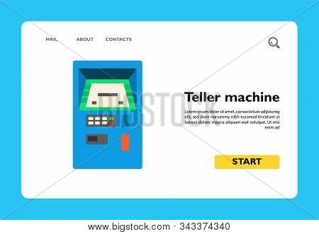Vector Icon Of Automated Teller Machine. Cash Dispenser, Cashpoint, Payment. Banking Service Concept