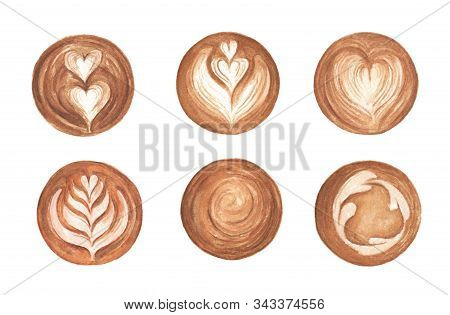 Set Latte Art , Heart Shape, Latte Art Coffee Isolated On White Background. Top View Of Hot Coffee C