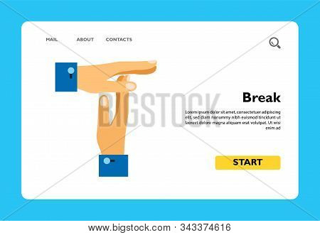 Vector Icon Of Male Hands Showing Break Gesture. Break From Work, Pause, Timeout. Time Management Co