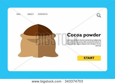 Icon Of Cocoa Powder. Sack, Abundance, Cocoa Mass. Chocolate Dessert Concept. Can Be Used For Topics