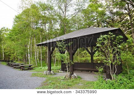 Wooden Seat And Pavilion On Hiking Trail In Hotaka Mountain Range, Kamikochi National Park, Kamikoch