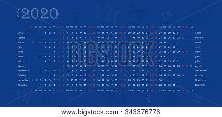 2020 Wall Calendar In Spanish On Deep Blue Background With Roman Numerals. Calendario Español 2020.