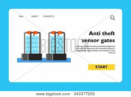 Icon Of Anti Theft Sensor Gates. Shop, Detector, Entrance. Security Concept. Can Be Used For Topics