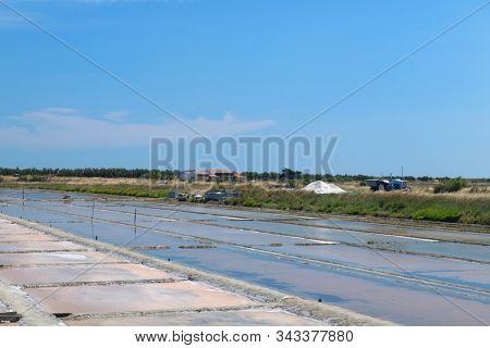 Ile de Re salt lakes and heaps in landscape