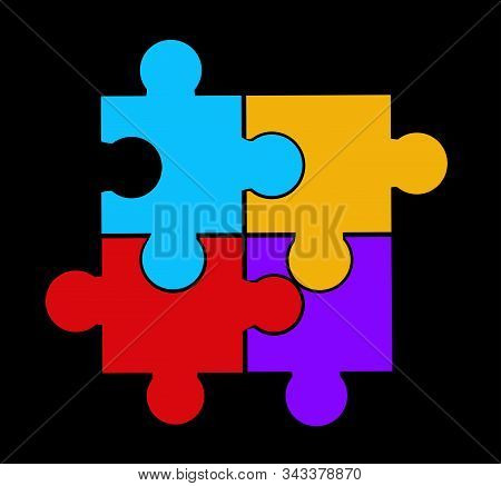 Puzzle Vector Illustration Art On Gray Background