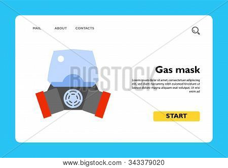 Vector icon of chemistry gas mask. Respirator, safety equipment, protective workwear. Chemistry concept. Can be used for topics like science, emergency situations, ecological disaster poster