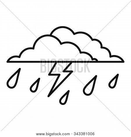 Thunderstorm Icon. Outline Thunderstorm Vector Icon For Web Design Isolated On White Background