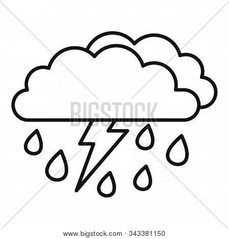 Danger Thunderstorm Icon. Outline Danger Thunderstorm Vector Icon For Web Design Isolated On White B