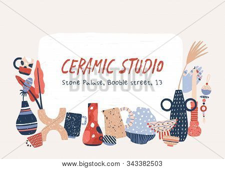 Ceramic Studio Products Hand Drawn Vector Banner Template. Porcelain Home Decor Accessories. Modern