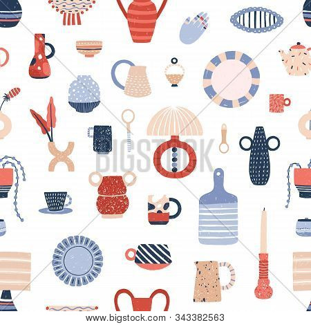 Ceramic Tableware Flat Vector Seamless Pattern. Stylish Handcrafted Pottery Texture. Modern Decorati