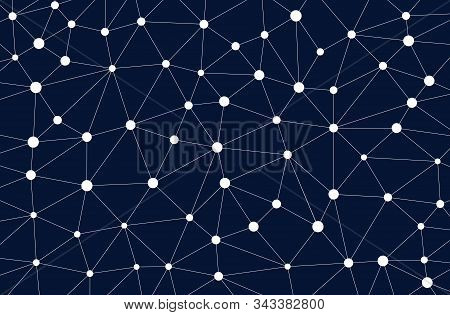 Vector Wireframe Polygonal Lines. Connecting Dots. Geometric Space On Dark Background. Concept Of Bi