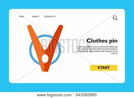 Icon Of Clothes Pin. Peg, Washing, Cleaning. Laundry Concept. Can Be Used For Topics Like Housework,