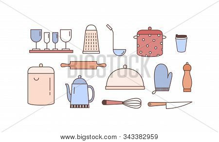 Kitchenware Linear Vector Icons Set. Various Kitchen Utensils Outline Illustrations Isolated On Whit