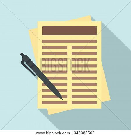 Leasing Report Paper Icon. Flat Illustration Of Leasing Report Paper Vector Icon For Web Design