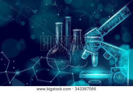 Low Poly Science Chemical Glass Flasks. Scientific Equipment Polygonal Triangle Blue Glowing Design.