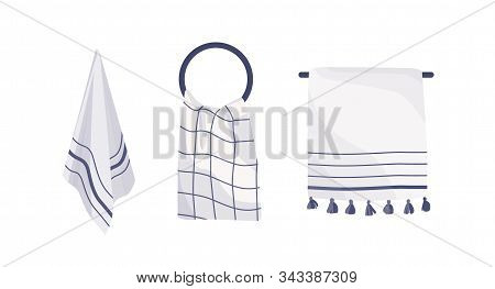 Hanging Towels Collection Vector Illustration. Kitchen And Bathroom Accessories Set. Textile Items O