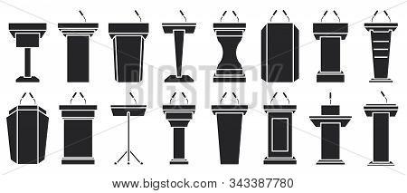 Podium Of Tribune Black Vector Illustration On White Background . Rostrum And Podium Set Icon.isolat