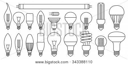Halogen Bulb Line Vector Set Icon. Illustration Of Isolated Line Icon Halogen Of Light Lamp. Isolate