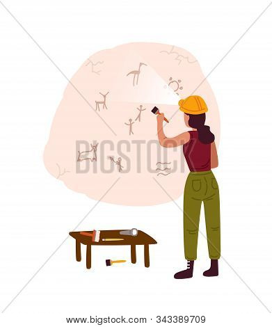 Archeological Discovery, Cave Painting Flat Vector Illustration. Female Archeologist Examining Ancie