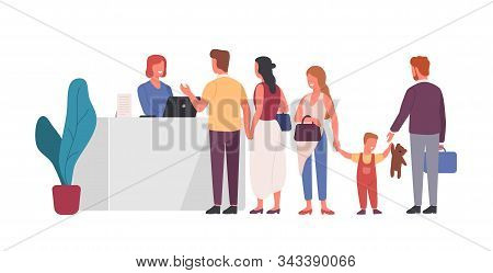 Queue At Reception Flat Vector Illustration. People Waiting In Line At Front Desk Cartoon Characters