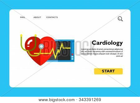 Multicolored Vector Icon Of Human Heart, Stethoscope, Monitor And Cardiac Rate Representing Cardiolo