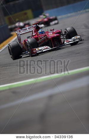 VALENCIA, SPAIN - JUNE 24: Fernando Alonso in the Formula 1 Grand Prix of Europe, Valencia Street Circuit. Spain on June 24, 2012