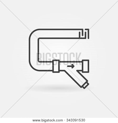 Pipe With Y-filter Or Y Strainer Vector Concept Outline Icon Or Sign