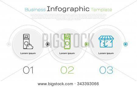 Set Line Shaving Gel Foam, Shaving Gel Foam And Barbershop Building. Business Infographic Template.