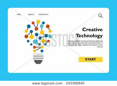 Illustration Of Bulb As Idea Of Creative Technology. New Ideas, Creativity, Innovation. Idea Of Crea