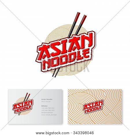 Chinese Food Logo. Red Lettering With Chopsticks On Noodle Background. Emblem Of Traditional Asian F