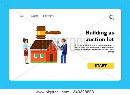 Vector Icon Of House Under Hammer And Man And Woman Bidding. Competition, Real Estate Auction, Const