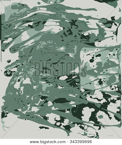 Ebru Pattern From Pastel Green And Black Shapeless Spots Of Paint. The Stain Is Made Manually By Pai