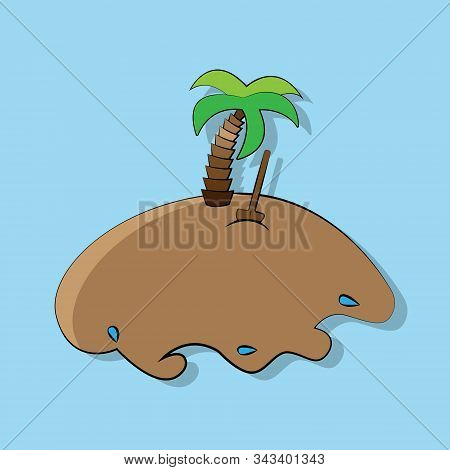 Vector Illustration Of Cartoon Treasure Island With Palm Tree And Shovel Stuck In The Ground On A Bl