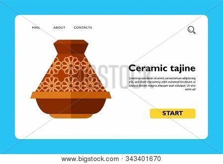 Vector Icon Of Brown Ceramic Tajine. Traditional Crockery, Souvenir, Hot Dinner. Morocco Concept. Ca