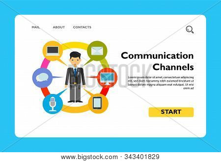 Man And Means Of Communication. Gadget, Chat, Message. Communication Channels Concept. Can Be Used F