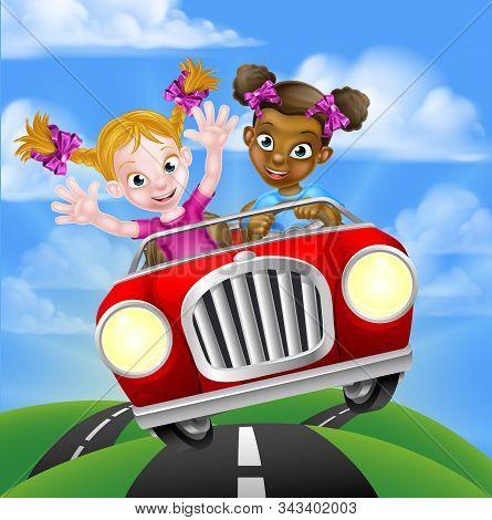 Cartoon Girls Having Fun Driving Fast In A Car On A Road Trip