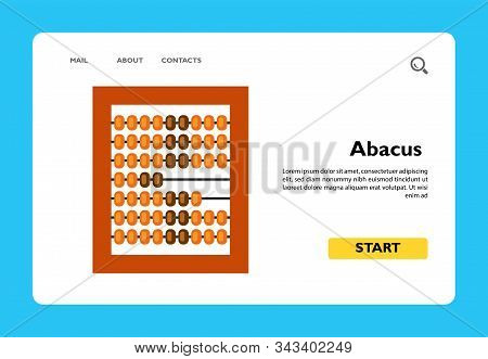 Vector Icon Of Abacus. Calculation, Arithmetic, Counting Equipment. Taxation Concept. Can Be Used Fo
