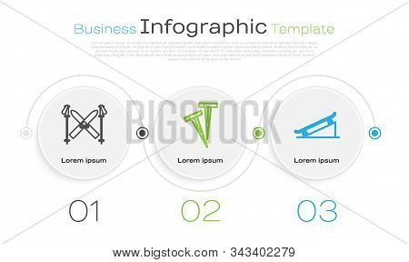 Set Line Ski And Sticks, Pegs For Tents And Skateboard On Street Ramp. Business Infographic Template