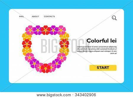Vector Icon Of Colorful Lei. Flower Necklace, Hawaiian Symbol, Summer Vacation Symbol. Hawaii Concep