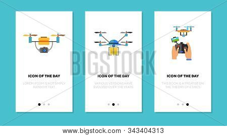 Drone Flat Icon Set. Copter, Quadcopter, Remote Control. Surveillance, Flying Gadget, Aerial Camera