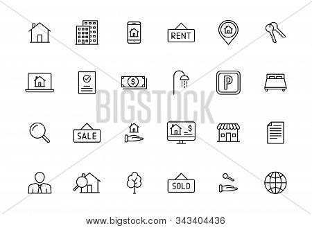 Set Of 24 Real Estate Web Icons In Line Style. Rent, Building, Agent, House, Auction, Realtor. Vecto