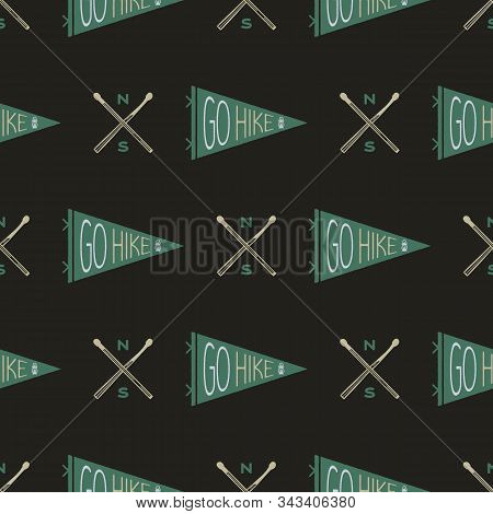 Camping Seamless Pattern With Hiking Pennants And Badge. Go Hike Text. Wanderlust Travel Wallpaper B