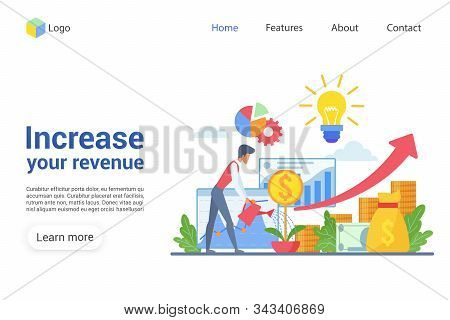 Increase Your Revenue Landing Page Vector Template. Revenue Growth Website Interface Idea With Flat