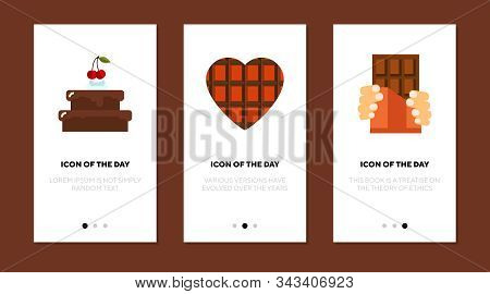 Chocolate Foods Flat Icon Set. Heart Shaped Pie, Cake, Bar. Sweets, Confectionary, Dessert Concept.