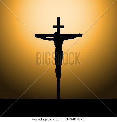 Crucifixion Of Jesus Christ On The Cross At Sunset. Sun Rays.vector Illustration