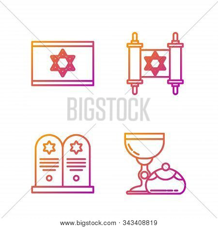 Set Line Jewish Goblet And Hanukkah Sufganiyot, Tombstone With Star Of David, Flag Of Israel And Tor