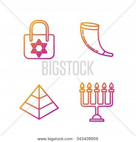 Set Line Hanukkah Menorah, Egypt Pyramids, Shopping Bag With Star Of David And Traditional Ram Horn,